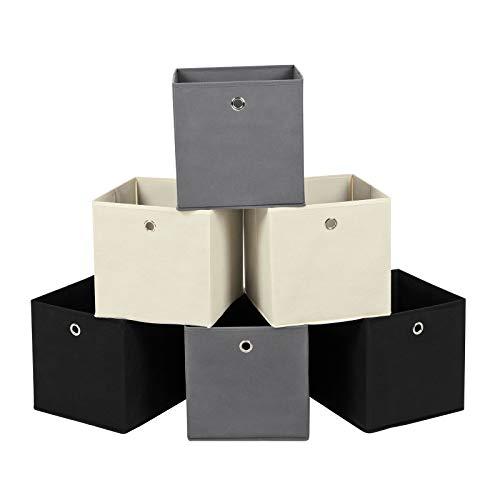 SONGMICS Aufbewahrungsbox, 6er Set, faltbare Stoffbox, Faltbox aus Vliesstoff, Würfel, Aufbewahrungskorb, Organizer für Spielzeug, Kleidung, 2 grau, 2 schwarz, 2 beige RFB06GHM -