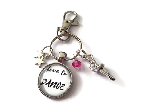Love to dance bag clip keyring, Ballet dancer themed keychain, sports gift, glass cabochon designs handmade by Sandy Kisses UK