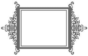 Baroque miroir contour design , vinyle autocollant, autocollants - 60cm Largeur - Hauteur 24cm - noir vinyle