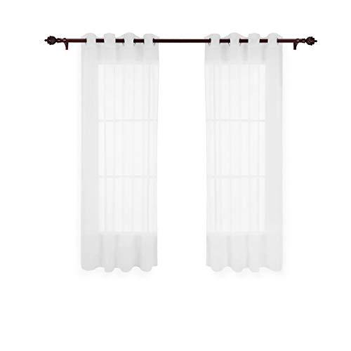Deconovo Vorhang Transparent Gardinen Transparent Ösenvorhang 175x140 cm Weiß 2er Set