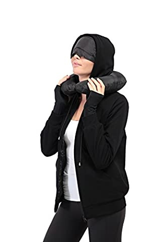 XY37 Femme Voyage Hoodie 10 Pockets Travel Oreiller masque pour les yeux Masque Gants
