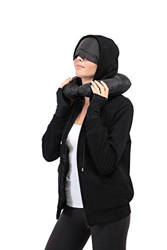 XY37 Frauen Reise-Jacke Hoodie 10 Taschen Reisekissen Augenmaske Gesichtsmaske Handschuhe (Knit Top Argyle)
