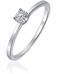 Goldmaid Damen-Ring 14 Karat 585 Weißgold Solitär Verlobungsring 1 Brillant 0,25 ct. So R6171WG