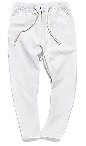 Fulok Men's Linen Ankle Length Plain Soft Thin Drawstring Pants Small White