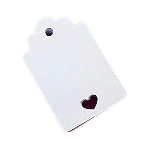 50 pezzi carta tag cuore Vuoto per matrimoni, 3x4,6 centimetri, carte regalo, tag fai da te, etichetta bagagli, etichetta prezzo, cartellini bianchi con cuore