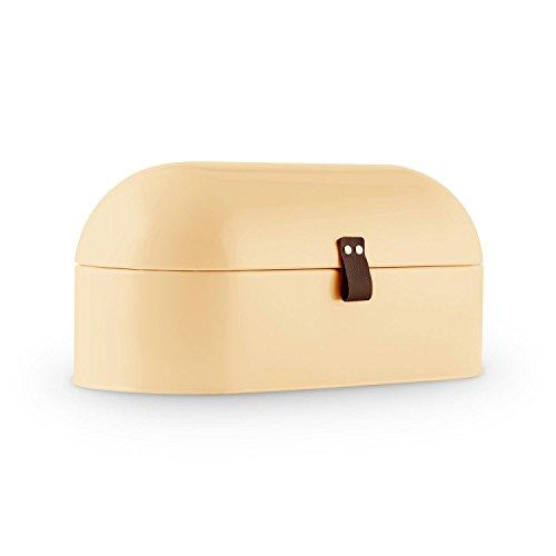 Klarstein Ciabatta Crema 2 • Brotkasten • Brotbox • pulverbeschichtetes Metallgehäuse • klappbarer Deckel • 14,5 Liter • leichte Befüllung • griffiges Lederband • große Innenfläche • sehr leicht zu reinigen • abgerundete Form • Retro-Look • creme
