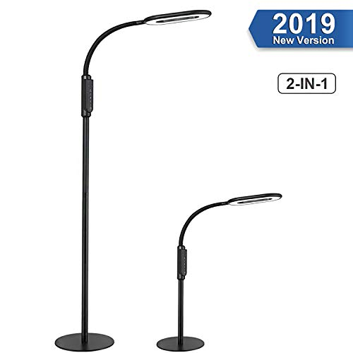 Lámpara de Pie, 2 en 1 AGM 16W LED Lámpara Escritorio Táctil Control, 4 Temperaturas de Color y 5 Niveles Brillo, Lámpara de Lectura con Cuello Flexible para Dormitorio, Oficina, Estudio