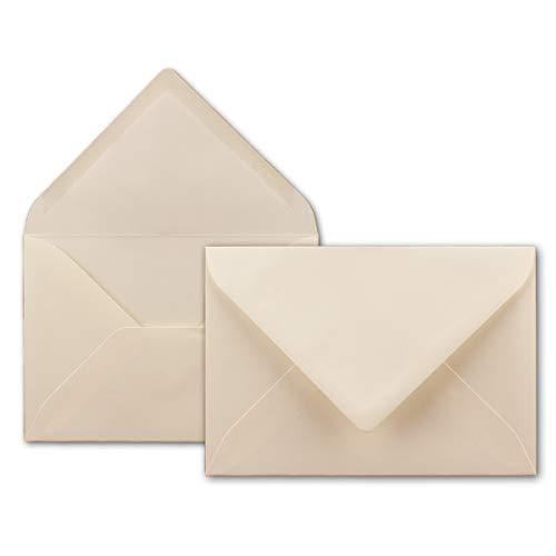 100x Brief-Umschläge in Creme - 80 g/m² - Kuverts in DIN B6 Format 12,5 x 17,6 cm - Nassklebung ohne Fenster