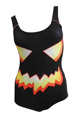 Black Out Halloween Horror Kürbis Pumpkin Badeanzug Damen Body