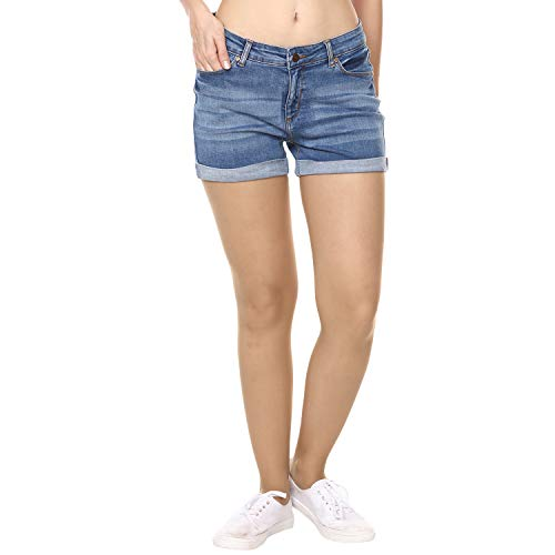 Broadstar Blue Premium Denim Skinny Casual Solid Shorts for Women
