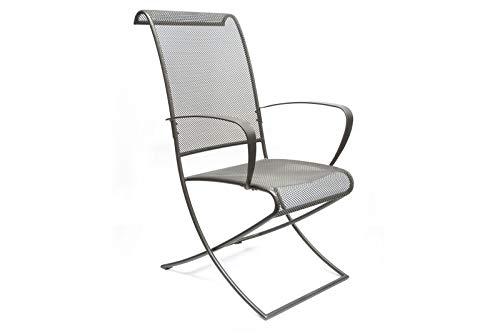 MBM Robuster Sessel Beverly, Gartensessel aus Schmiede-Eisen in Graphit, 60x70x98 cm, Eisenstuhl für den Garten
