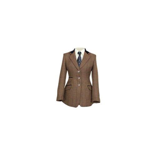 Shires Ladies Huntingdon Jacket–Grün Check/Velvet Trim (Womens Velvet Trim)