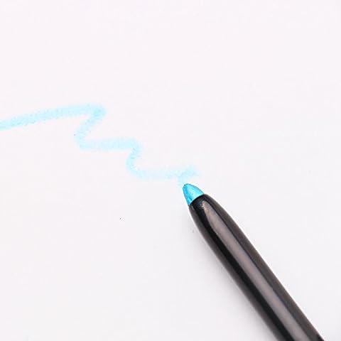 Brillo de labios delineador de ojos sombra de ojos del país de las maravillas lápices de colores cosmética de la pluma del trazador de líneas 6 easy-to-wear notebookbits, azul claro, 0.25