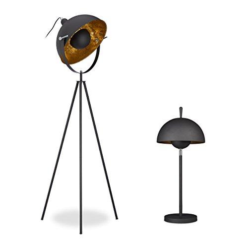2 tlg. Lampen-Set HELMUT, Stehlampe Dreibein, Tischlampe, 1-flamming, modernes Design, Metall, schwarz-gold