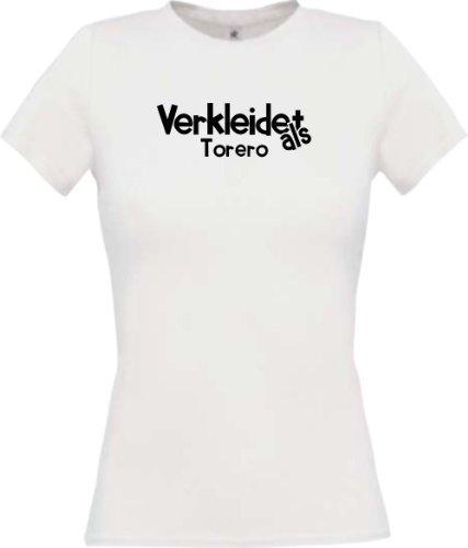 Lady-Shirt Verkleidet als Torero Karneval Fasching Kostüm Verkleidung, Farbe weiss, Größe XL