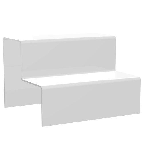 Displaypro–Marcos gran blanco 2paso elevador de acrílico decoración de escaparates zócalo para venta de joyas–Entrega gratuita.