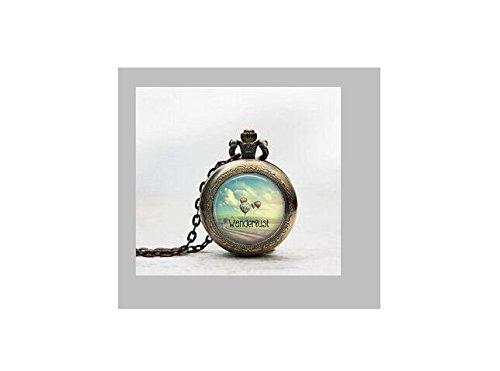 Wanderlust Anhänger Taschenuhr, Heißluftballon Halskette Taschenuhr Charme, Heißluftballon Anhänger Taschenuhr Glass Tile Schmuck, Glas Gypsy Uhr, Heißluftballon ()