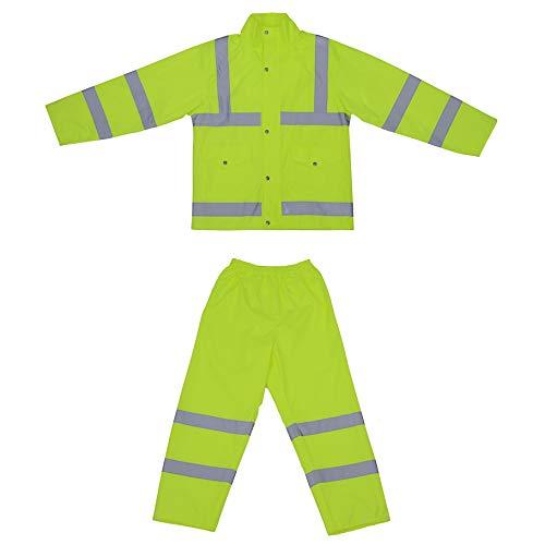 HSNMEY Set Regenanzug reflektierend Regenjacke/Regenhosen Warnschutz Hi-Vis regendicht mit Kapuze für Sport Outdoor, Gelb 2XL