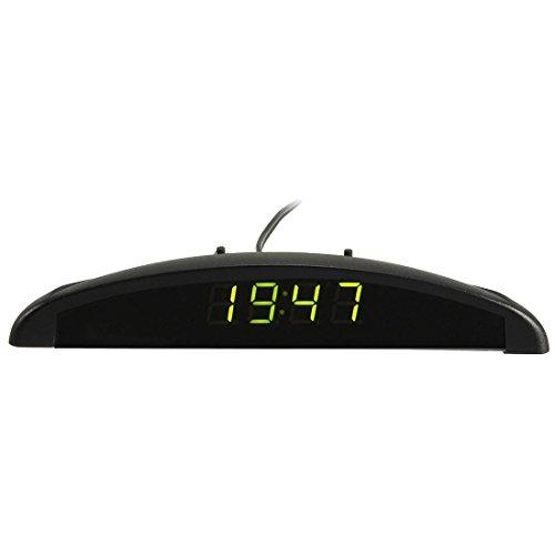 Auto Digitaluhr - TOOGOO(R)3In1 Auto Car 12V Digital LED Voltmeter Spannung Temperatur Uhr Thermometer Kfz, Gruen