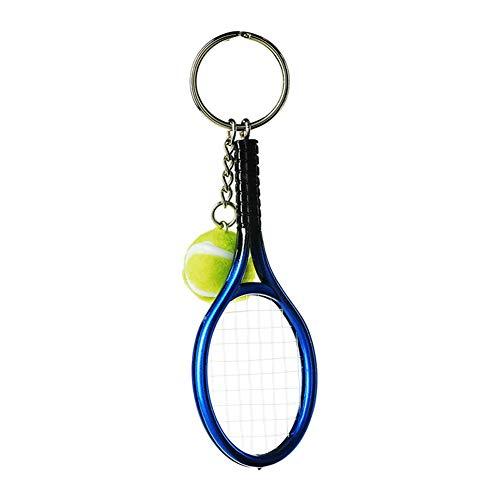 kentop llavero Creative Raqueta de tenis llavero metal Llavero con colgante pequeño regalo para tenis entusiastas 3.7 * 12cm azul
