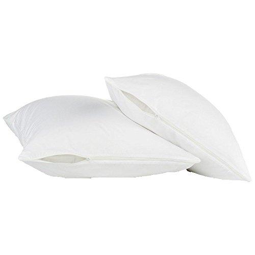 2PACK-wasserdicht Kissenschoner Reißverschluss-Staub Milben, Bakterien, Allergy Control-umgreifung-Bed Bug Proof-100% Zufriedenheit garantiert., baumwolle, weiß, King Size -