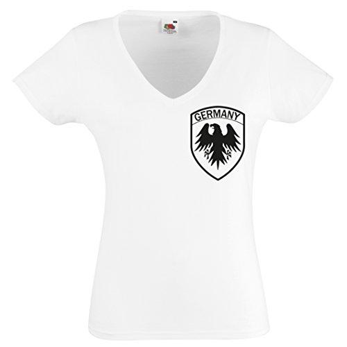 WM 2018 Damen Fanshirt V-Neck Damen Trikot Fan-Shirt Germany Fussballshirt (V-neck Spanien Fußball-herren)