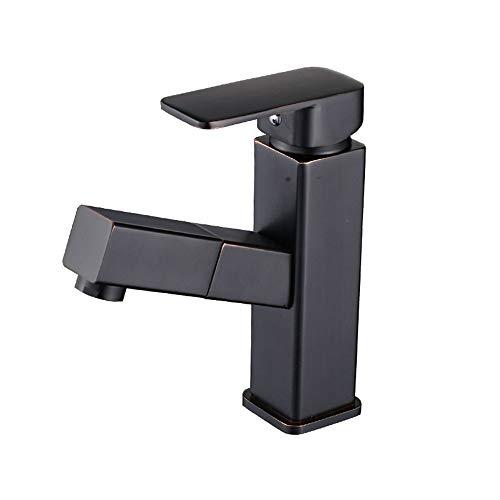 Zhcmy Copper Black Patina Faucet Washbasin Wash Hand Basin Hot and Cold Single Shampoo Telescopic - Patina Single
