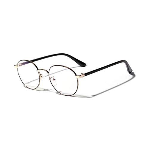 WULE-RYP Polarisierte Sonnenbrille mit UV-Schutz Damenmode runde kleine Brille Rahmen Nerd Brille mit klarer Linse. Superleichtes Rahmen-Fischen, das Golf fährt (Farbe : Golden)