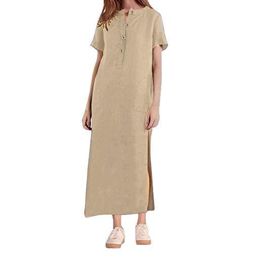 Frashing Langes Kleid Damen Maxikleider Baumwolle Vintage Boho Maxi-Kleid V-Ausschnitt Loose Button Kleider Frauen Rundhals Bluse Shirt Lange Große Größen Casual Bluse Shirtkleid -