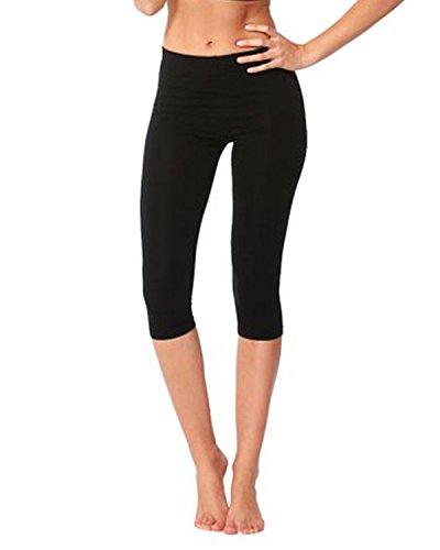 Damen Baumwoll-Stretch-Soft Ebene 3/4 unter Knie Ernte Leggings-Farben & Größen(ladies ¾ under knee)Ref:2191 cotton (Medium, Schwarz(black))