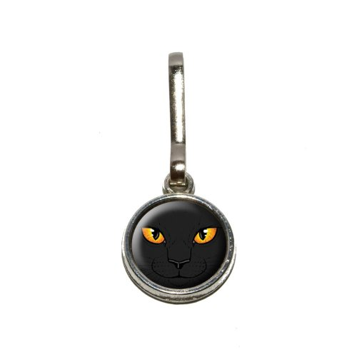 Black Cat Face–Pet Kitty Halloween Antik Charm Kleidung Geldbörse Gepäck Rucksack Zipper Pull (Geldbörsen Halloween)