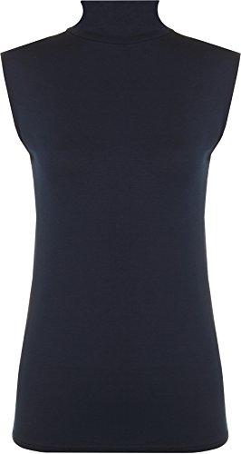 WearAll - Damen Rollkragen Elastisch Ärmellos Unterhemd Bodycon Top - Marine - 36-38 (Marine-blau-wohnungen)