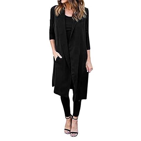 Femme Cardigan, Feixiang Customizatio exclusif NEUF femmes décontracté Poche sans manches Gilet Long Blazer Veste Manteau L noir