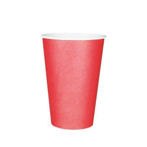 Trinkbecher, Pappe 0,2 l Ø 7 cm 9,7 cm rot Menge: 20 St Heißgetränkbecher, Kaffeebecher, Einwegbecher, Party-Trinkbecher, ToGo-Becher