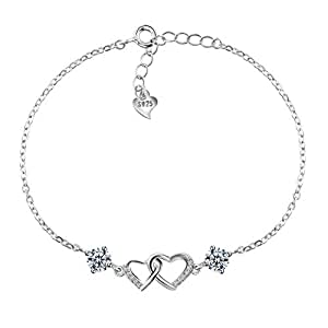 Amilril Love Heart Bracelet, 925 Sterling Silver Fine Jewellery Mothers Day Gifts