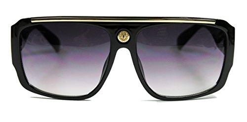 Retro Sonnenbrille für Herren Medusa Design Old School Flat Top Modell FARBWAHL MMG (Glossy Black / Smoke)