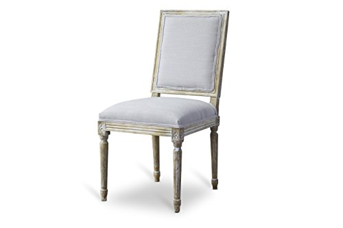 Baxton Studio Clairette Beige Linen French Style Natural Oak Wood Accent Chair