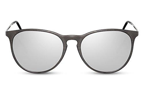 Cheapass Verspiegelt-e Sonnenbrille Schwarz Silber UV-400 Lichtschutz Festival Metall Damen Herren