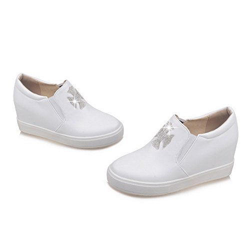 AllhqFashion Femme Rond à Talon Haut Matière Souple Mosaïque Tire Chaussures Légeres Blanc