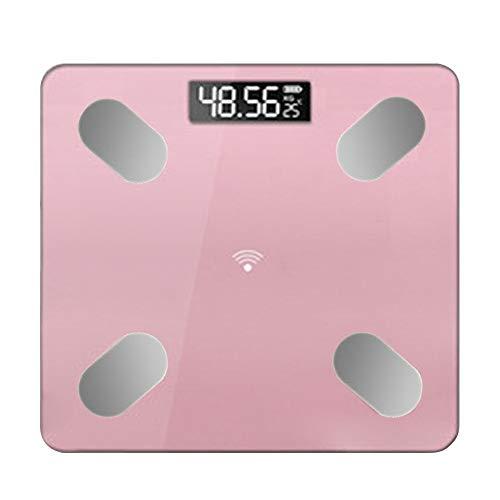jEZmiSy Digitale Personenwaagen, Smart Karosserie Monitor LED Anzeige Bluetooth APP BMI Wiegen Elektronisch Waage, Fördern Sie EIN gesundes Leben und halten Sie Sich fit Pink Rechargeable 28x28cm