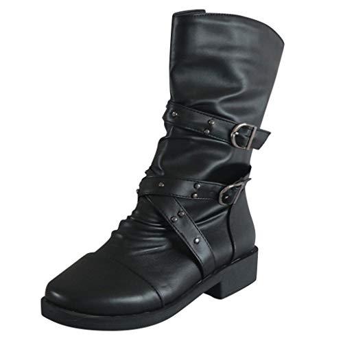 QinMM Damen Wanderstiefeletten, Damen Western Flats Low-Heel Cross Strap Schnalle Zipper Round Toe Knight Stiefel -