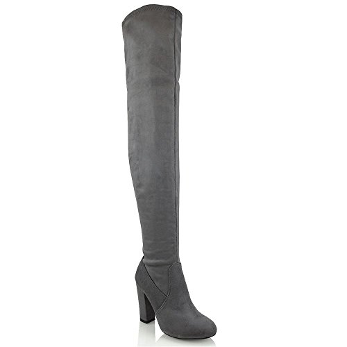 Womens Thigh High Block Heel Ladies Fashion Over The Knee High Stretch...