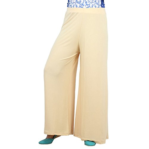 ROOLIUMS ® (Brand Factory Outlet)Women's Light Weight Trendy and Stylish Malai Lycra palazzo - Free Size (Cream, Free Size)  available at amazon for Rs.199