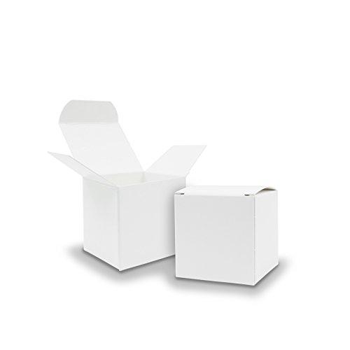 50x itenga Würfelbox aus Karton 5x5cm weiß Gastgeschenk Schachtel zum Befüllen (Hochzeit. Adventskalender. Taufe. Geburtstag. Geschenk. Kommunion)