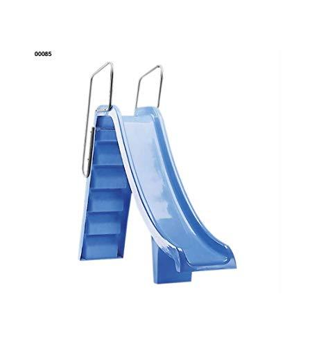 00085Rutsche Toboggan pranaslide Höhe 1,50m mit Handlauf aus aluminium lackiert weiß für Pools Wohnungen.