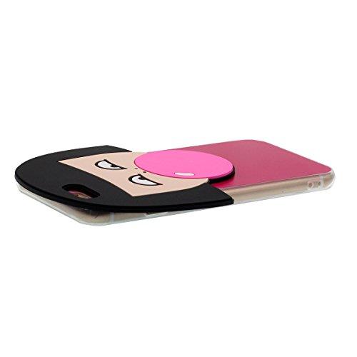 iPhone 6S Plus Coque Case Transparente Sides Anti choc Svelte & Lumiere, Flexible TPU Gel Étui Apple iPhone 6 Plus 5.5 Pouce, Origine Conception 3D [Une Fille Souffler Balloon] Forme - Rose Rouge