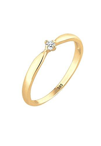DIAMORE Ring Damen Verlobung Welle mit Diamant (0.03 ct) in 585 Gelbgold