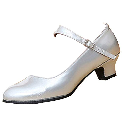 Yefree scarpe da ballo moderne per le donne confortevole il giro chiuso scarpe da ballo in pelle tacchi bassi performance scarpe da ballo