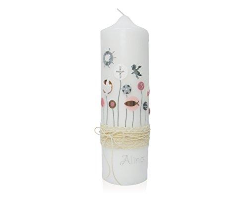 Candleworld-Fulda Taufkerze Wachsverzierung T104A Vintage-Style runde Kerzenform - Verschiedene Symbole in Silber/roségold/grau/weiß/rosa/-Tönen, Naturspitze 275/80 mm personalisiert