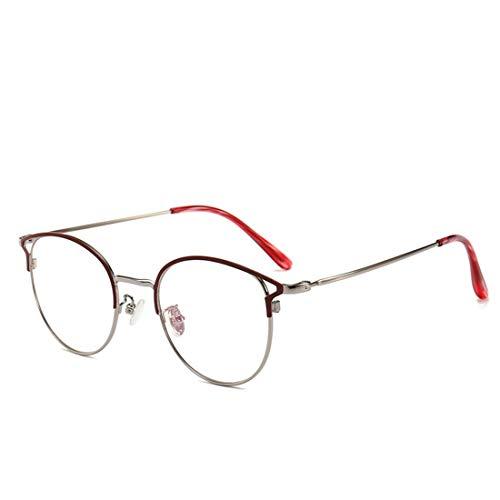 Karidesh Anti-Blau-Metall-Brille Rahmen weibliche Cat Eye Anti-Strahlung Brille Rahmen Nicht Brillen Männer (Color : Red)